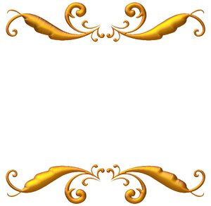 Golden Ornate Border 2: A golden ornate border or frame on a white ...