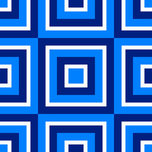 Retro Pattern 3: A tileable retro pattern of squares in a 1970's style in navy, blue and white.