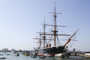Old ship: HMS Warrior, an historical battleship, in dock at Portsmouth, England.