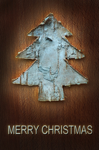 Merry Christmas Greetings: Natural wooden Christmas tree and greetings