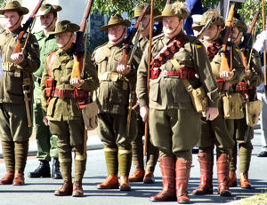 historic uniform1: Australian soldiers/former soldiers participating in military activities in First World War uniforms and equipment - Photography of Australian soldiers involved in public parades and activities is freely permitted.