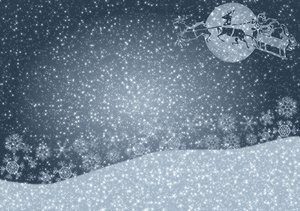 Christmas Greetings 2: A starry, shiny Christmas greeting, background, cover, card or illustration in silvery colours, with a figure of Santa's sleigh against a moon in the sky.