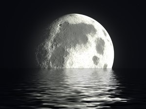 Moon and Water 2: A giant moon on a watery horizon.