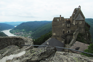castle ruin: ruined castle of Aggstein, Lower Austria, high above the right bank of the Danube in Wachau. Probably built in the beginning of the 12th century.