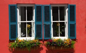 Bright windows: Traditional framed windows with window boxes shot in direct sunlight, Charleston, South Carolina, USA