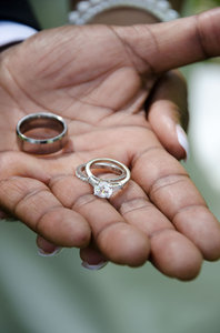 Wedding Rings - African Americ: Brides wedding ring being displayed by the groom of an African-American Wedding