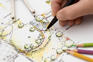 Garden Design Blueprint Sketch: Landscape Architect sketching Detail on Garden Plan. Design, Idea and Sketch is my own Work.