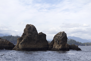 Treacherous rocks: Rocks and islands off the west coast of Vancouver Island, Canada.