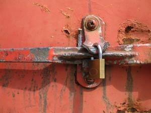 locked rusty door
