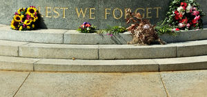 Don't forget: wall memorial reminder - ANZAC war memorials - slogan - lest we forget