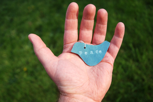 Hand of Peace: Hand holding a cut out of a dove displaying the word 'peace'