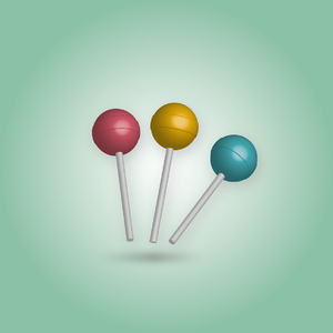 3D Lolly Pop retro colors