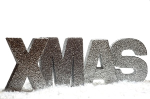 XMAS: Silver letters spelling XMAS in snow