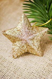 Golden star: Golden star Christmas decoration