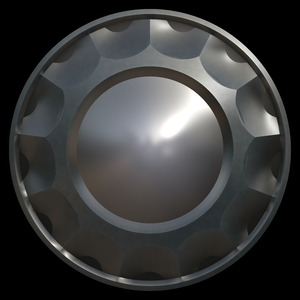 Hubcap: A round silver hubcap or shield with reflection on a black background.