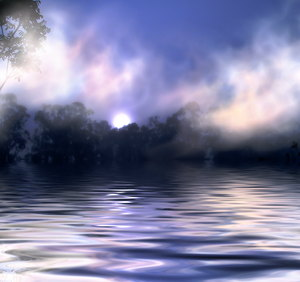 Misty Sunrise over Water