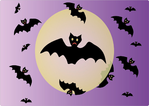 Halloween bats and moon