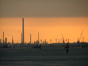 Industry by sunset