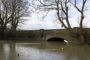 Bridge in flood water