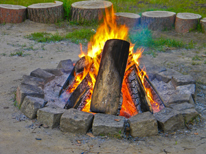 Fire 3: Fireplace ready for a picnic.