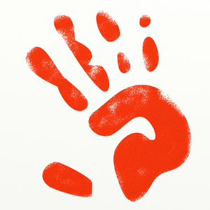 Red Hand Print: Red pained handprint.