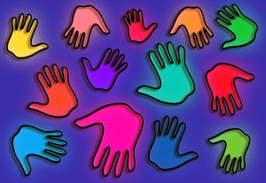 Hand Prints: Stained glass handprints clipart.