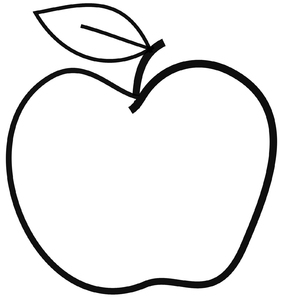 Apple: Simple line drawing of an apple.