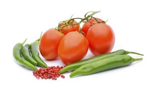 Chili pepper and tomatoes