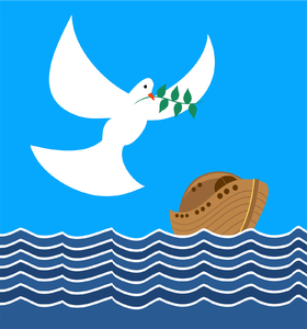 Dove and Noahs Ark Clipart: The dove bringing back an olive branch to the ark.