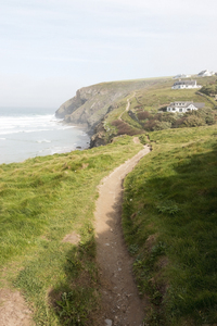 Coast path: A footpath along coastline of north Cornwall, England.