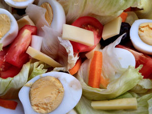 summer salad platter3: large platter of summer salad for outdoor eating, picnics, etc