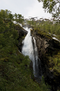 Waterfall: A snow-melt waterfall in Norway.