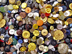 buttons - mixture 16b2: a variety of different sized, shaped and coloured buttons