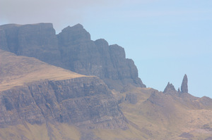 Old Man of Storr: Distant views of the Old Man of Storr rock pinnacle on Skye, part of the Trotternish ridge.
