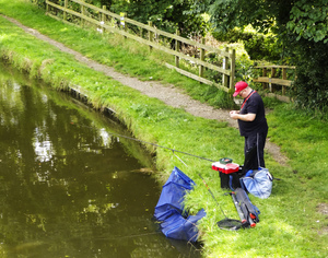 Canal Fishing: A fisherman on Thurnham Canal.