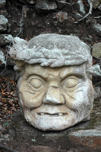 Copan old man: Carved head of an old man in the ruins of Copan, Honduras.