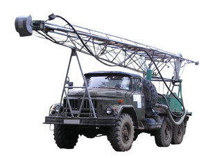 Mobile drilling vehicle.