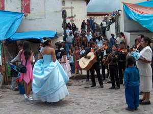 Party with mariachi: 15 years party of a girl in a small town in Mexico.