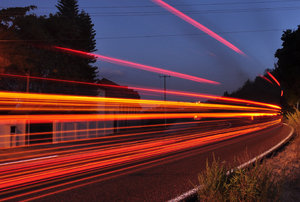 Road light streaks