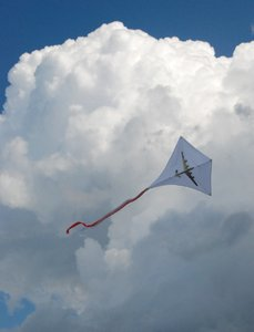 Kite: Flying kite with figure of airplane