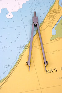 Compasses on the sea map