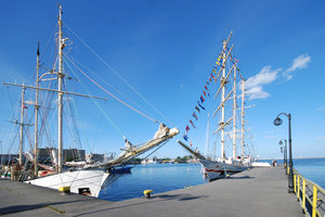 Two tall ships in the harbour