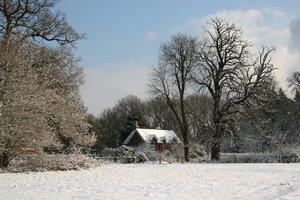 Winter cottage: A cottage in West Sussex, England, in winter snow.