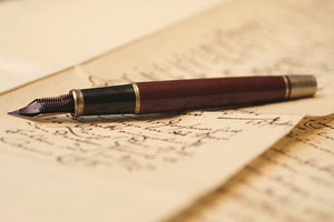 Vintage fountain pen 4: Pen on old german hadwriting