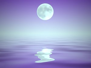 Watery Background With Moon