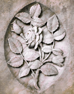 Stony Rose: rose carved into marble gravestone