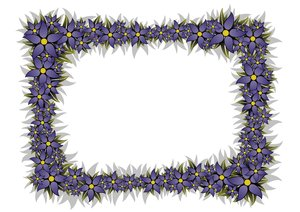 Floral Frame 5: rectangular frame with blue flowers in the high-resolution