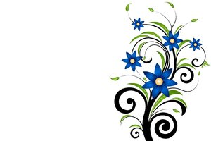 Blue Flowers 1: Decorative motif with blue flowers and leafs