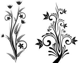 Isolated B&W Floral Set 4