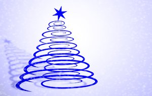 Christmas Tree Blue: Christmas background. Blue abstract christmas tree with star, shadow and snow. Perhaps you would prefer these:  http://www.rgbstock.com/photo/2dyVQYr/Abstract+Christmas+Tree